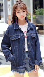 Wholesale Men Coats New Model - The new wave of brand street couple denim jacket high street loose hanging men and women models denim coat casual men's jacket off white sup