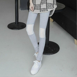 Wholesale Thin Striped Leggings - Wholesale- 2016 New Korean Style Women Leggings Fashion Stripes Hollow Mesh Stitching Nine Leggings Pantalones office lady thin pants
