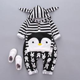 Wholesale Penguin Pant - Kids Clothes New 2017 Autumn Childen Penguin Clothes Sets Stripe Top+Pants 2 Pcs Cotton Clothing 5 S l
