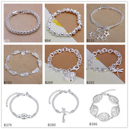 Wholesale Charm Ring Screw - 8 pieces a lot mixed style fashion women's sterling silver Bracelet,Screwing ring Full slippers stereoscopic hearts 925 silver Bracelet EMB6