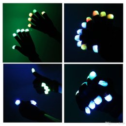 Wholesale Glove Light Finger - HOT Fashion 7 Mode LED Rave Light Finger Lighting Flashing Glow Gloves for birthday party xmas