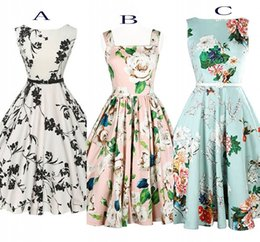 Wholesale Casual Mid Length Beach Dresses - 2016 Cheap Casual Dresses Summer Beach Flora Printed Women Wear Slash Neck A Line Mid-Calf Sleeveless Vintage Dresses Free Shipping