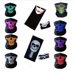 Wholesale girls skull scarf - Halloween Skull Face Masks Skeleton Magic Skull Scarves Outdoor Sports Cap Neck Snood Ghost Headband Cycling Motorcycle Party Masks OOA3316
