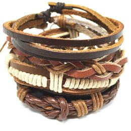 Wholesale Charm Bracelets For Women Religious - 4pcs 1 Set Punk Genuine Wrap Leather Bracelets Men For Women Cuff Bangle Jewelry Accessories Wholesale Free Shipping
