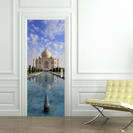 Wholesale Building Home Design - 3D Taj Mahal Door Sticker 2 pcs set Creative Building View Door Wall Stickers Home Decoration Poster PVC Cloud River Blue Sky Door Sticker