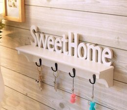"Wholesale Wall Mount Hat Rack - Wholesale- 1Pc ""Sweet Home"" Shelves Hat Key Holders Storage Shelf hanging hooks Wall Mounted Rack Home Holder Storage Hanger Decoration"