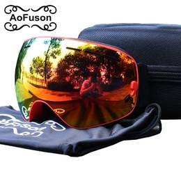 Wholesale White Snow Mask - Brand snowboard goggles double layers UV400 anti-fog big vision skiing mask motocross eyewear women&men snow snowmobile goggle