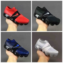 Wholesale Spring Come - Kids Air VaporMax Running Shoes Kid 2018 Air VaporMax Blue Black White Red Sneakers Kids Size 28-35 Come With Box