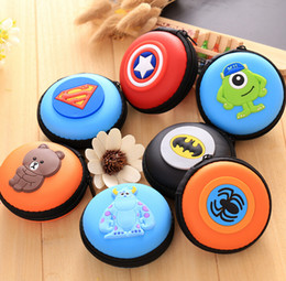 Wholesale Hard Case For Headphones - Free Ship 20pcs Round 3D Cartoon Storage Bag Coin Purse Cable Bag Carrying Hard Hold Case For Earphone Box Headphone Earbuds Card Bag