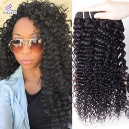 Wholesale Deep Wave Human - On Sale Brazilian Remy Weave Hair 2Pcs Lot Unprocessed Hair Bundles Virgin Human Hair Extensions Natural Black Deep Wave Kinky Curly Hair