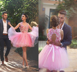 Wholesale Champagne Colored Short Prom Dresses - 2017 Beauty Pink Handmade Flowers Colored Homecoming Gowns Pageant Dress Cocktail Party For 16 Sweet Girls Short Prom Gowns