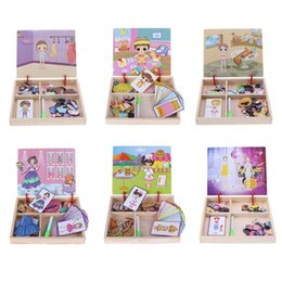 Wholesale Puzzle Games Girls - Baby Wooden Magnetic Puzzle Board Toy Dress Up Changing Clothes Games Kids Boy Girl Early Educational Sketchpad Toys Xmas Gift