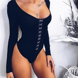 Wholesale Floral Rompers Jumpsuits - 2017092220 New Black U Neck Long Sleeve Rivet Rompers Womens Jumpsuit 2017 Summer Sexy Hollow Out Macacao Feminino Bodycon Bodysuit