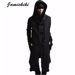 Wholesale European Outerwear - European American Avant-garde Long Style Hoody Fleece Sweatshirts Mens Black Rope Buckle Hoodies Sweatshirt Outerwear
