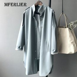 Wholesale Trench Coat Epaulets - Office Autumn Long Trench Coat For Women Boy Friend Style Epaulet Stand Collar Single Breasted Striped Liner Trench