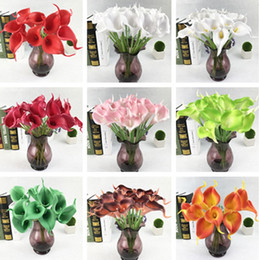 Wholesale Mini Calla Lilies - High quality Artificial Flower Real Touch 12 Colors Mini Calla Lily For Home Wedding Party Decorition Flower IC618