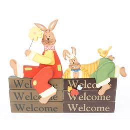 1 par coelho de madeira decoração artesanal artesanato vintage home decor bem-vindo estilo zakka coelho de páscoa jardim de casa frete grátis cheap zakka style decoration de Fornecedores de decoração estilo zakka