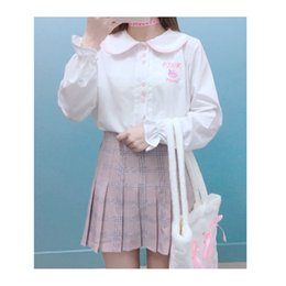 Wholesale White Blouse Peter Pan Collar - Cute Women Cotton Blouse Long Sleeve 2017 Autumn New Peter Pan Collar White Pink Sweet Lolita Letter Embroidery Femme Shirt Tops