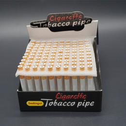Wholesale Top Portable Hookah - 100pcs A Lot Mini Aluminum Pipe Portable Metal Smoking Pipes Top Brand Hookah Pipes Real Cigarette Shape Wholesale Cheap Pipes