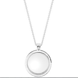 Wholesale Large Glass Lockets - 100% 925 Sterling Silver Chain Large Floating Locket With Sapphire Crystal Glass Necklace Fits Pandora Style Jewelry Charms and Beads