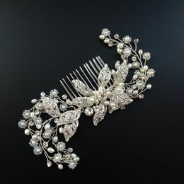 Wholesale Cross Barrette - Crystal Bridal Hair Comb Silver Rhinestone Flower Wedding Headpiece Crystal And Pearl Spray Comb Bridal Hair Jewelry