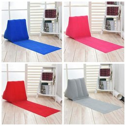 Wholesale Inflatable Travel Cushion - 4 Colors 150*38*46cm Inflatable Pad Inflatable Beach Mat Outdoor Flocking Triangle Inflatable Pillow Cushions Outdoor Pads CCA7190 100pcs