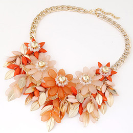 Wholesale Acrylic Resin Flowers - 5 Colors Gold Plated NEW 2016 Fashion Collar Big Resin Flower Necklaces Choker Statement Crystal Maxi Necklace For Women Jewelry