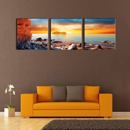 Wholesale Sunrise Wall Art Home Decor - LK3189 3 Panel Seascape Sunrise In The Morning Oil Painting Pictures Prints On Canvas Wall Art For Home Decor Modern Decor For Bedroom Frame