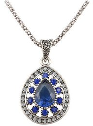 Wholesale Tibetan Necklaces For Sale - Fashion Vintage Sapphire Necklace For Women Tibetan Silver Alloy Water Drop Pendant Wedding Necklace Cheap Sale Jewelry
