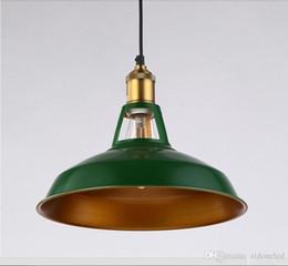 Wholesale Vintage Green Lamps - loft industrial pendant lighting led vintage lighting Metal Pendant Hanging Lights American Countryside Barn Edison Pendant Lamps
