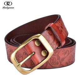 Wholesale Press Belt - Wholesale- RADYMAN women's belt Harness women retro belt press ceinture femme de marque luxe flower belts women's belts for jeans big sizes