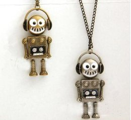 Wholesale United Links - Free Shipping Europe and the United States foreign trade retro music robot necklace,2016 woman new sweater chain wholesale price