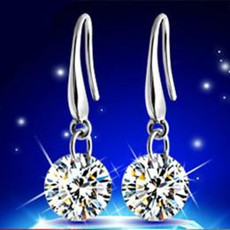 Wholesale Wedding Diamond Earings - Fashion Silver Plated 18K White Gold AAA CZ Diamond Zircon Drop Dangle Earring Hook Earings Brinco Women Wedding Jewelry Naked Drill Earring