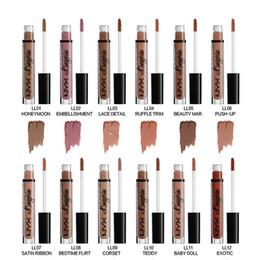 Wholesale Ladies Lip Gloss - New Lip Gloss Sexy NYX Matte Waterproof Lipstick Lip Gloss Ladies Makeup Beauty Makeup Lips 12 Colors WX-B159