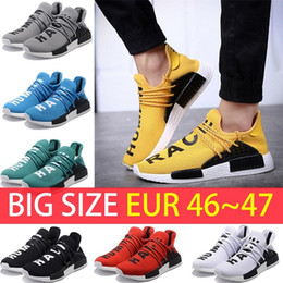 Wholesale Womens Size 12 Flats - Big Size NMD Human Race boost Man Running shoes Ultra boost ultraboost nmds yellow black white red Mens womens Sport sneakers US 5-12