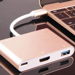 "Wholesale Usb Digital Converter - New USB-C USB 3.1 Type C to HDMI Digital AV & USB-C USB C Female Charger Adapter converter for 12"" DHL Free OTH227"