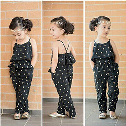Wholesale Little Girls Outfits - 2016 Fashion Kids Baby Girls Clothes Sleeveless Jumpsuit Trousers Romper Outfits Summer Clothes for Little Girls