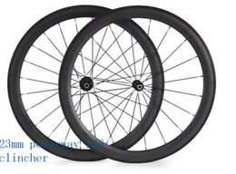 Wholesale Carbon Road Wheels Straight Pull - free shipping carbon wheelset 50mm powerway R36 ceramics straight pull 3K UD road clincher wheel 700C width 23mm carbon bicycle wheels