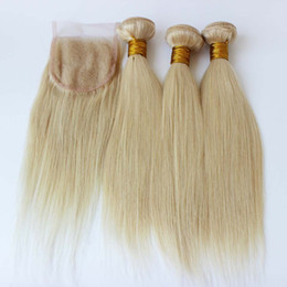 Wholesale 613 Blonde Closure - Brazilian Hair With Closure 613# Blonde Brazilian Hair Weave Bundle 1Pc Lace Closure With 3PCS bundles platinum blonde weave