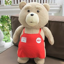 Wholesale Cute Teddy Bears Stuffed - Wholesale-2015 Movie Teddy Bear Ted 2 Plush Toys In Apron cute Soft Stuffed Toys Animals Ted Bear Plush Dolls kids birthday gifts