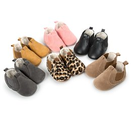 Wholesale Red Moccasin Boots - New Winter Baby shoes Moccasins First walkers Moccs Warm boots with Velvet Toddler shoes Nubuck leather Leopard print 0-18months