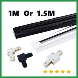 Wholesale Track Lighting Fixtures Wholesale - 1M or 1.5M Thicken led Track light Fixture AC 85v-265v Tracklights Black White Led Track light Spotlight Fixture connector Warranty 3 years