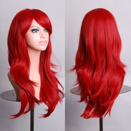 Wholesale Red Black Long Wigs - 14 Colors 70cm Long Wavy Full Head Wig Anime Cosplay Synthetic Lace Fron Wig, Black Blue Pink White Red Purple Cosplay Cheap Wig