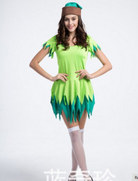 Wholesale Tinker Bell Clothes - Free shipping Peter Pan and Tinker Bell Vestido Cosplay clothing Para Halloween Fancy costume Bola for women custom for party