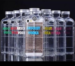 Wholesale New Style Luxury absolute Vodka alcohol Wine Bottle Transparent Clear TPU Capa Phone Case Cover For iPhone S s plus