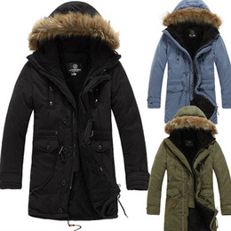 Wholesale mens fur collar jacket - Warm Fleece Mens Hooded Jacket Brand Fur Collar Down Jacket Men Overcoat Large Size For Winter Autumn