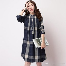 Wholesale Linen Shirt Colors - Women Blouses Plaid Shirt Women Long Sleeve Blouse Plus Size XXL Women Clothing Autumn Shirts Women Long Tops 3 Colors