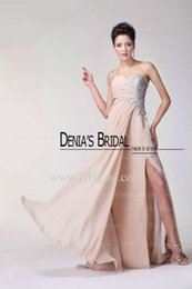 Wholesale Wholesale Evening Long Dresses - Beach Beaded One Shoulder Unique Backless Sweetheart Neckline Champagne Chiffon Long Floor Length Evening Dresses High Qyality