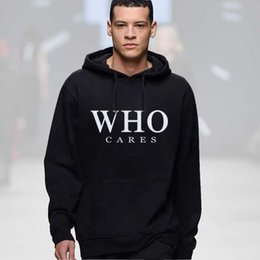 Wholesale Cheap Tracksuits - Wholesale-WHO CARES Sweatshirt Streetwear Hip Hop Rock Hoodie Mens Tracksuits Pullovers Cheap Crewnecks Sweatshirts Moleton