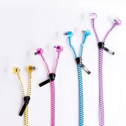 Wholesale Iphone Michael - NEW metal zipper headset creative zipper headset with Michael can talk headset stereo headphones